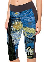 Yoga Pants 3/4 calças justas Compressão Natural Stretchy Wear Sports Azul Unissexo Outros Ioga / Fitness