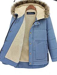 Women's Coat,Patchwork Hooded Long Sleeve Winter Blue Cotton Opaque