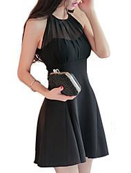 Women's Sexy Party Micro Elastic Sleeveless Above Knee Dress (Chiffon)