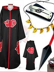 Anime Cosplay Costume Naruto Akatsuki Black Cosplay Cloak with Cap  (5Pcs)