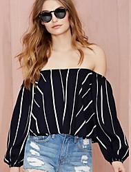 Women's Striped Black Blouse , Boat Neck Long Sleeve
