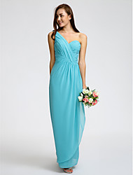 Lanting Bride® Ankle-length Georgette Bridesmaid Dress - Sheath / Column One Shoulder with Criss Cross