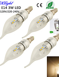 YouOKLight® 4PCS E14 3W 280lm 6 x SMD5730 Warm White LED Pointed tail shape Candle Lamp -silver(AC110-120V/220-240V)