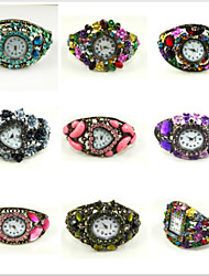 Round Shape Quartz Movement With Cubic Zirconia Bracelet Watch Cool Watches Unique Watches