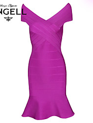 Women's Party / Cocktail Solid Bodycon / Trumpet/Mermaid Dress , V Neck Mini Rayon / Spandex