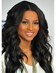 Long Length Curly Hair European Weave Light Black Hair Wig