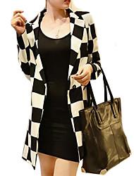 Women's Long Sleeve Blazer , Cotton Blends Regular Casual