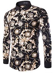 Men's Long Sleeve Shirt , Cotton / Acrylic / Nylon Work / Formal Print k075