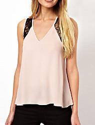Women's Patchwork Pink Blouse , V Neck Sleeveless