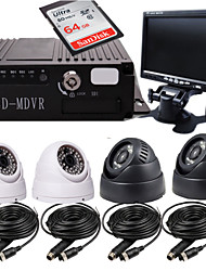 4CH  Card 4 Road Car Video Camera Monitors The Hardcover Vehicle Management Special Video Recorder Bus + 64GB