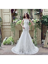 Trumpet / Mermaid Wedding Dress Floral Lace Court Train Off-the-shoulder Crepe Lace Tulle with Crystal Lace Pattern Ruffle