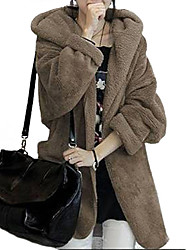 Women's Solid Cotton Blends Coat, Casual