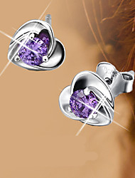 S925 Fine Silver Purple Crystal Heart Shape Stud Earrings