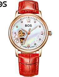 BOS Clover Automatic Mechanical Watches Leather Watchband Fashion Ladies Watch