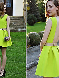 Women's Solid Color Green Dresses , Sexy Round / V-Neck Sleeveless