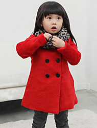 Girl's Cotton Qiu Dong The Double-Breasted Long  Coat