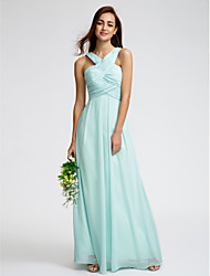 Sheath / Column V-neck Ankle Length Georgette Bridesmaid Dress with Criss Cross by LAN TING BRIDE®
