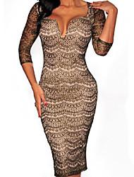 Women's Black Gold Shimmer Nude Illusion Midi Sexy Dress