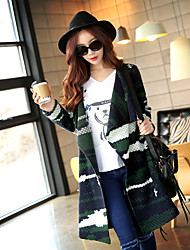 Pink Doll®Women's Jacquard Green Coat , Casual / Day Long Sleeve Acrylic / Polyester