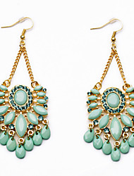 Drop Earrings Gemstone Simulated Diamond Alloy Statement Jewelry Fashion Drop Screen Color Jewelry 2pcs