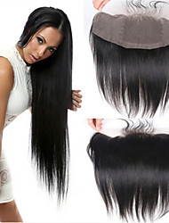 """Free 3 Parts Full Lace Frontal Wig Brazilian Virgin Hair Closure 4""""*13"""" Swiss Lace Natural Straight"""