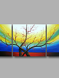 "Ready to Hang Stretched Hand-painted Oil Painting 48""x24"" Three Panels Canvas Wall Art Pink Blossom Flowers Blue"