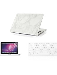 "Case for Macbook Air 11"" Macbook Pro 13""/15"" with Retina display Marble Plastic Fashion Cover Case + Keyboard Cover + Screen Protector"