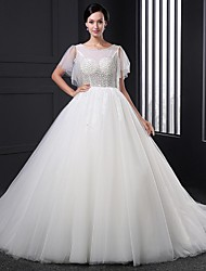 A-line Wedding Dress Sweep / Brush Train Jewel Tulle