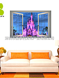 3D Wall Stickers Wall Decals, Purple Castle Decor Vinyl Wall Stickers