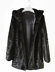 Fur Coats Long Sleeve Hooded Faux Fur Jackets Black/White