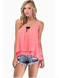 Women's Solid Blue / Pink / White / Green Blouse , Round Neck Sleeveless