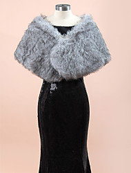 Wedding  Wraps Fur Wraps Shawls Sleeveless Faux Fur Gray Wedding Party/Evening Rhinestone Clasp