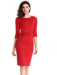 High Quality Women's Vintage Solid Plus Size / Bodycon Dress , Round Neck Knee-length Cotton / Polyester