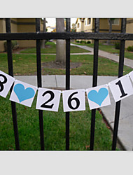 Customized Date Blue Heart Wedding Engagement Birthday Banner Buntings with Ribbon
