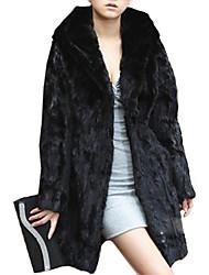 Women's Elegant Faux Fur Pure Color Hoodie Long Sleeve Coat