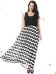 Women's Beach Black and White / Skater Dress,Striped Round Neck Maxi Sleeveless Black / Purple Spandex Spring