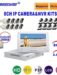 Strongshine® IP Camera with 1080P/Infrared/Waterproof and 8CH NVR with 10.1Inch LCD/2TB Surveillance HDD Combo Kits