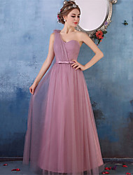 Floor-length Crepe Bridesmaid Dress A-line One Shoulder