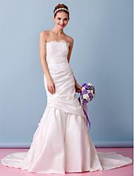 Lanting Bride Trumpet/Mermaid Wedding Dress-Chapel Train Strapless Lace / Taffeta