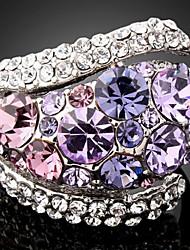 South Korea Fashion Exaggerated Platinum Plated Diamond Ring MYJ00114