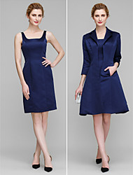 Lanting Sheath/Column Mother of the Bride Dress - Dark Navy Knee-length 3/4 Length Sleeve Satin