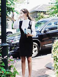 estilo coreano das mulheres casual / dia / vestido da bainha sólida simples, correia acima de algodão joelho