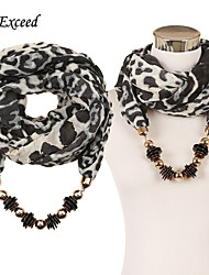 D Exceed Women's leopard print beaded scarves thick warm scarf with pendant for winter