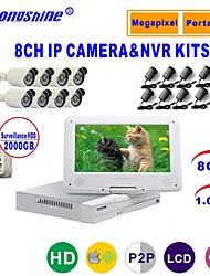 Strongshine® IP Camera with 720P/Infrared/Waterproof and 8CH NVR with 10.1Inch LCD/2TB Surveillance HDD Combo Kits