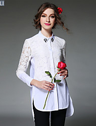 2016 Spring Women's Shirt Elegant Casual Bead Hollow Lace Patchwork Asymmetric Button Long Shirt Top