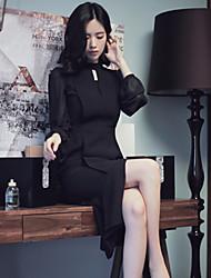 estilo coreano das mulheres trabalho / casual / dia vestido solto / chiffon sólida, gola de poliéster midi