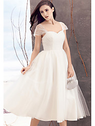 Lanting Bride® A-line Wedding Dress Tea-length Queen Anne Tulle with Criss-Cross