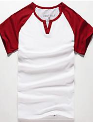 Herren Freizeit / Übergröße T-Shirt  -  Einfarbig Lang Baumwolle