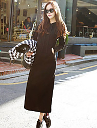Women's Sports Loose Dress,Solid Hooded Maxi Long Sleeve Black / Gray Fall / Winter