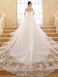 Ball Gown Wedding Dress-Chapel Train V-neck Lace / Tulle